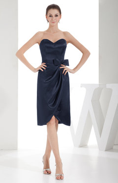 Navy Blue Elegant Sheath Sweetheart Zip up Silk Like Satin Bow Little Black Dresses