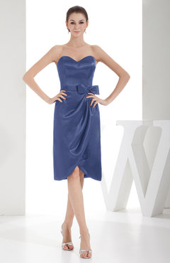 Periwinkle Elegant Sheath Sweetheart Zip Up Silk Like Satin Bow Little Black Dresses