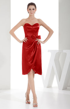 Red Elegant Sheath Sweetheart Zip up Silk Like Satin Bow Little Black Dresses