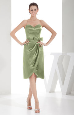 Sage Green Elegant Sheath Sweetheart Zip up Silk Like Satin Bow Little Black Dresses