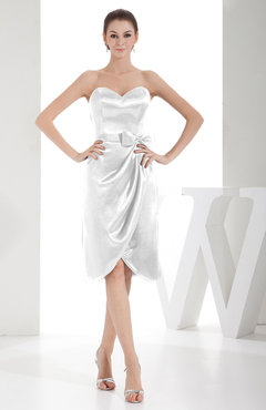 White Elegant Sheath Sweetheart Zip up Silk Like Satin Bow Little Black Dresses