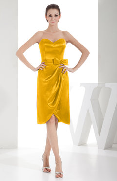 Yellow Elegant Sheath Sweetheart Zip up Silk Like Satin Bow Little Black Dresses