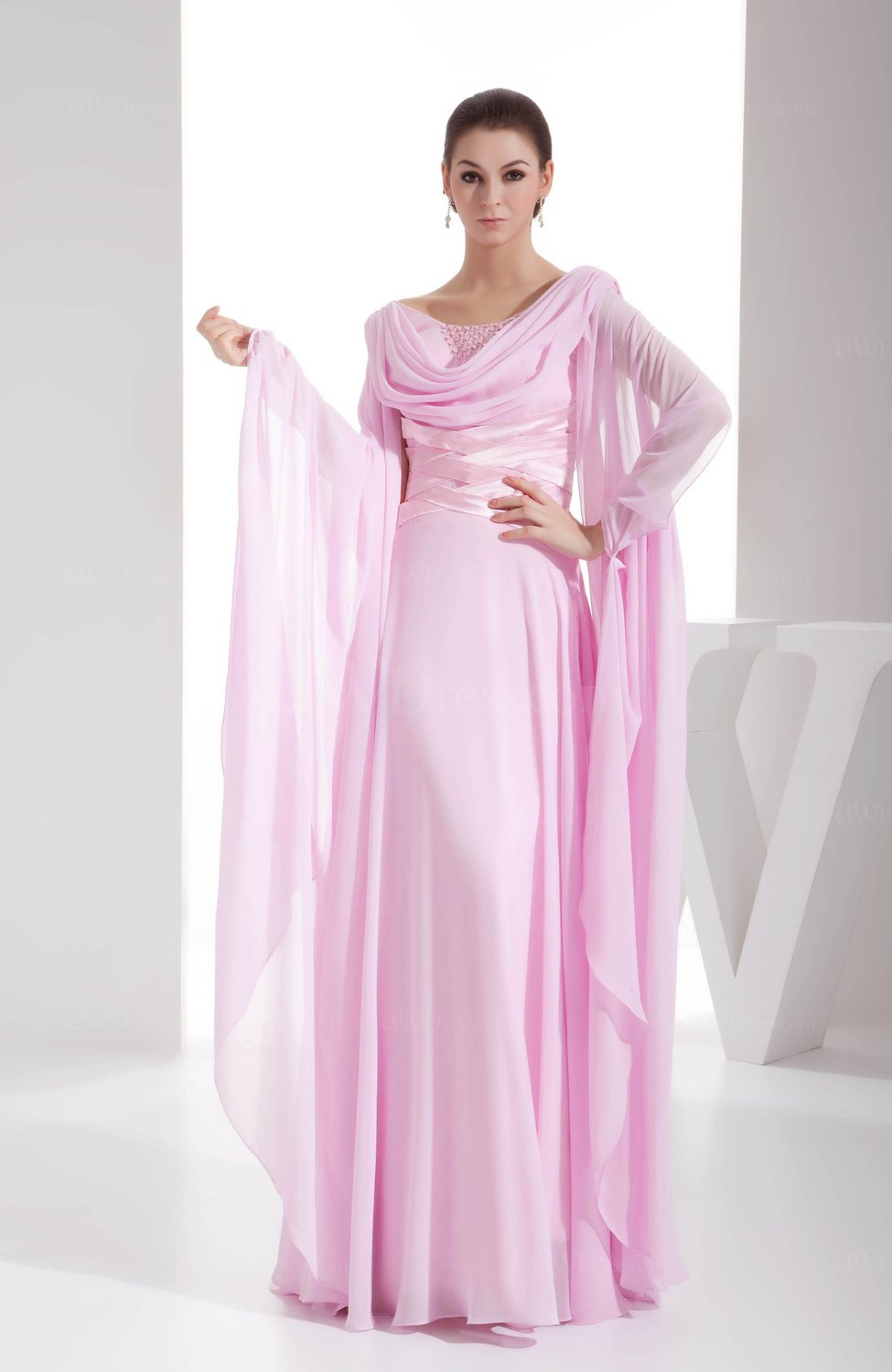 Baby pink romantic a line scoop long sleeve chiffon for Long sleeve chiffon wedding dress