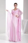 Romantic A-line Scoop Long Sleeve Chiffon Bridesmaid Dresses