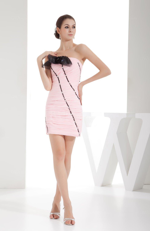 Cute Column Strapless Zip Up Mini Ruching Bridesmaid Dresses - UWDress.com