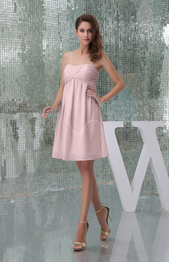Blush Plain A-line Sweetheart Sleeveless Backless Knee Length Bridesmaid Dresses