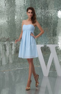 Ice Blue Plain A-line Sweetheart Sleeveless Backless Knee Length Bridesmaid Dresses