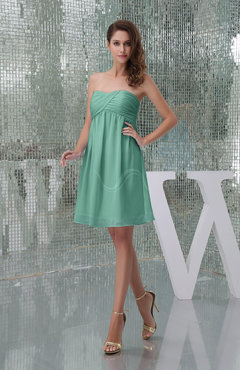 Mint Green Plain A-line Sweetheart Sleeveless Backless Knee Length Bridesmaid Dresses