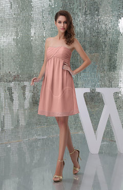 Peach Plain A-line Sweetheart Sleeveless Backless Knee Length Bridesmaid Dresses