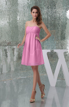 Pink Plain A-line Sweetheart Sleeveless Backless Knee Length Bridesmaid Dresses
