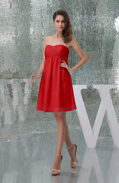 Red Plain A-line Sweetheart Sleeveless Backless Knee Length Bridesmaid Dresses