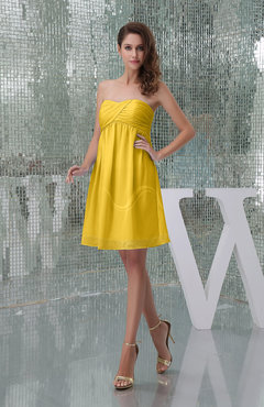 Yellow Plain A-line Sweetheart Sleeveless Backless Knee Length Bridesmaid Dresses