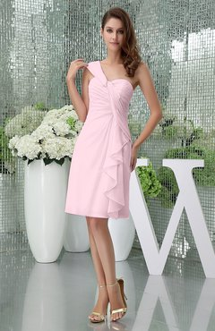 Blush Elegant Sheath Sleeveless Zipper Knee Length Ruching Party Dresses