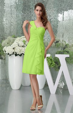 Bright Green Elegant Sheath Sleeveless Zipper Knee Length Ruching Party Dresses