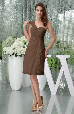 Brown Elegant Sheath Sleeveless Zipper Knee Length Ruching Party Dresses