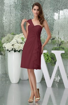 Burgundy Elegant Sheath Sleeveless Zipper Knee Length Ruching Party Dresses
