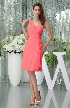 Coral Elegant Sheath Sleeveless Zipper Knee Length Ruching Party Dresses