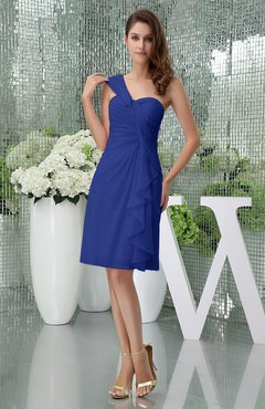Electric Blue Elegant Sheath Sleeveless Zipper Knee Length Ruching Party Dresses