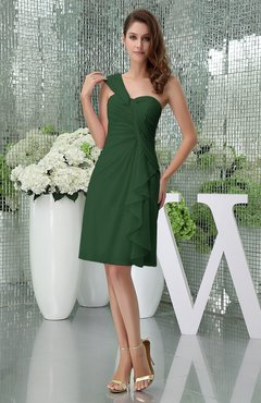 Hunter Green Elegant Sheath Sleeveless Zipper Knee Length Ruching Party Dresses