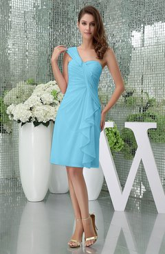 Light Blue Elegant Sheath Sleeveless Zipper Knee Length Ruching Party Dresses