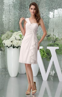 Light Pink Elegant Sheath Sleeveless Zipper Knee Length Ruching Party Dresses