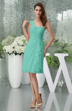Mint Green Elegant Sheath Sleeveless Zipper Knee Length Ruching Party Dresses