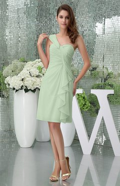 Pale Green Elegant Sheath Sleeveless Zipper Knee Length Ruching Party Dresses