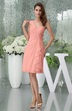 Peach Elegant Sheath Sleeveless Zipper Knee Length Ruching Party Dresses