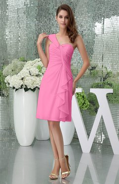 Pink Elegant Sheath Sleeveless Zipper Knee Length Ruching Party Dresses
