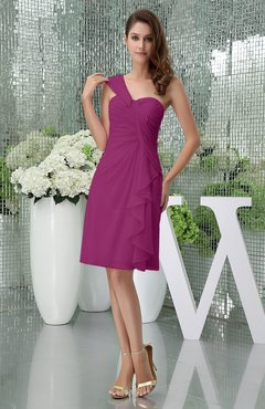 Raspberry Elegant Sheath Sleeveless Zipper Knee Length Ruching Party Dresses