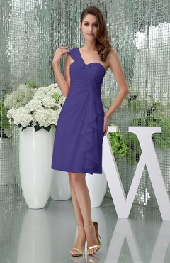 Royal Purple Elegant Sheath Sleeveless Zipper Knee Length Ruching Party Dresses