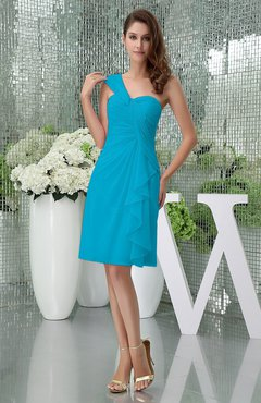 Teal Elegant Sheath Sleeveless Zipper Knee Length Ruching Party Dresses