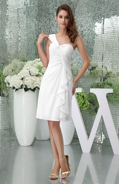 White Elegant Sheath Sleeveless Zipper Knee Length Ruching Party Dresses