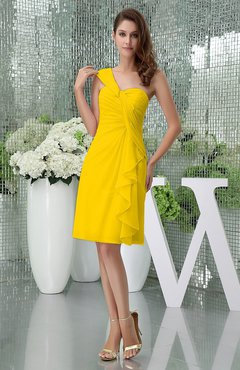 Yellow Elegant Sheath Sleeveless Zipper Knee Length Ruching Party Dresses