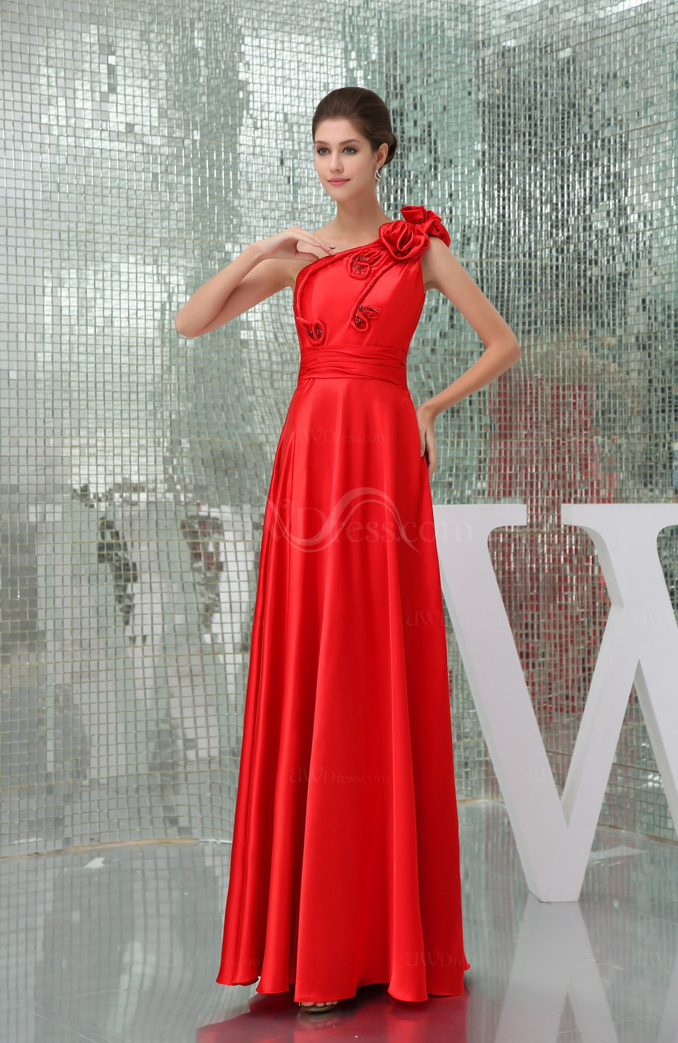 Modest A Line One Shoulder Sleeveless Zipper Floor Length