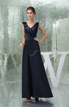 Modest A-line V-neck Sleeveless Floor Length Ruffles Bridesmaid Dresses
