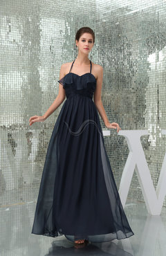 Navy Blue Classic Empire Sleeveless Chiffon Floor Length Prom Dresses