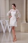 Glamorous Garden Scalloped Edge 3/4 Length Sleeve Zip up Lace Bridal Gowns