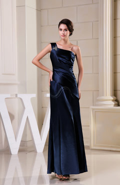 Navy Blue Mature Mermaid Sleeveless Zipper Beaded Evening Dresses
