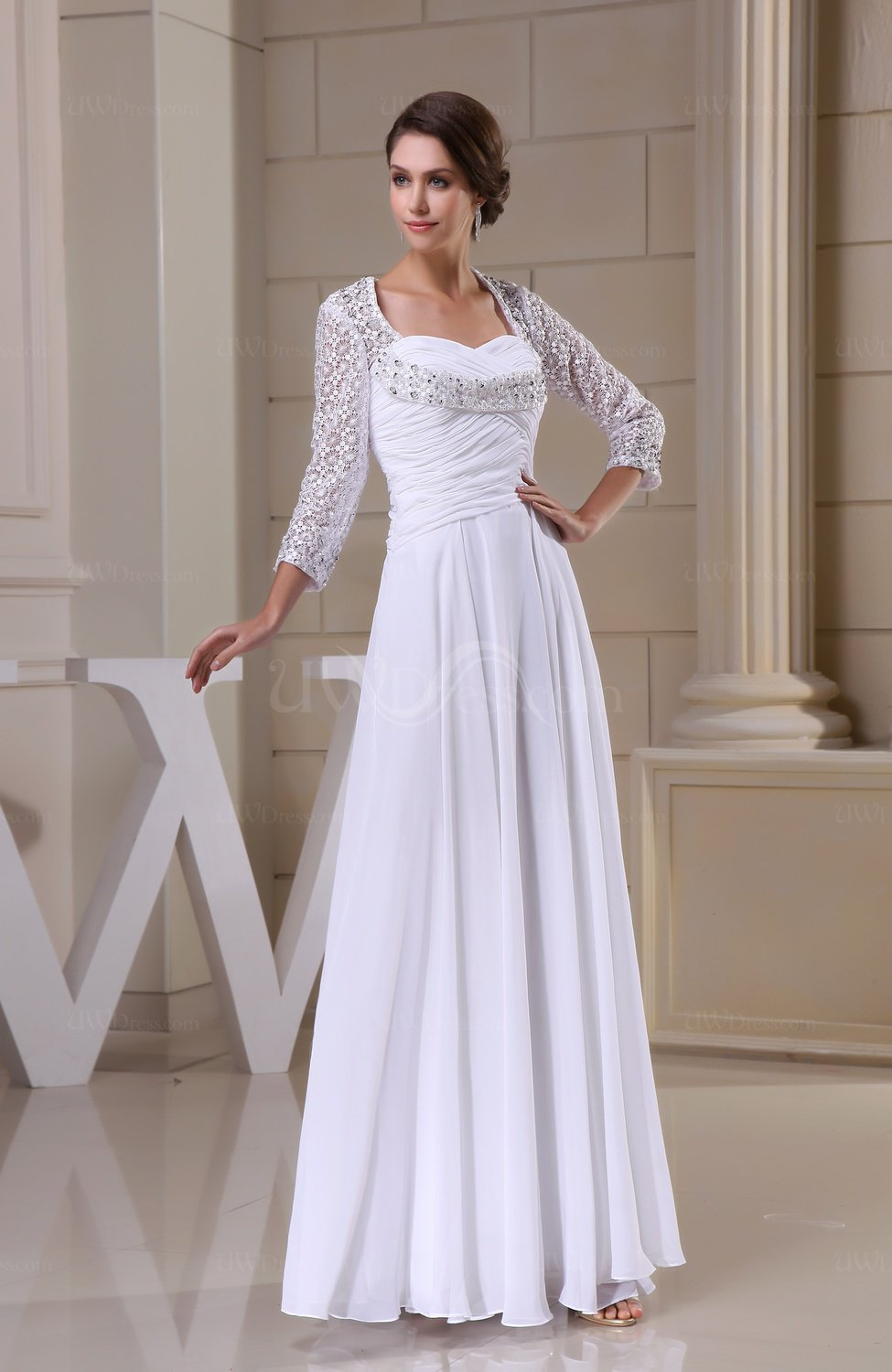 White disney princess destination a line queen anne 3 4 for 3 4 sleeve wedding guest dress