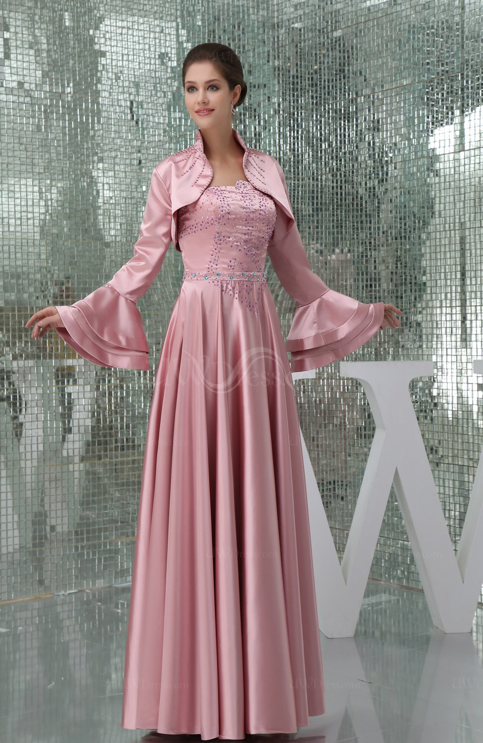 Simple hall a line strapless long sleeve silk like satin for Long sleeve sequin wedding dress