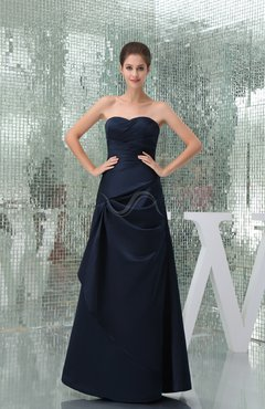 Navy Blue Traditional A-line Sleeveless Floor Length Ruching Evening Dresses