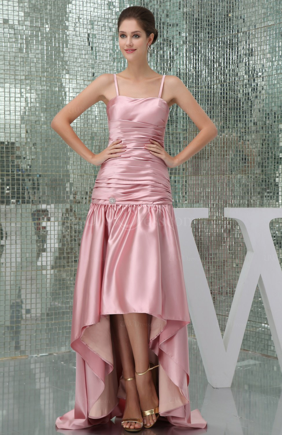 Modest Spaghetti Sleeveless Backless Silk Like Satin