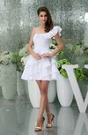 Casual A-line Asymmetric Neckline Backless Short Ruffles Party Dresses