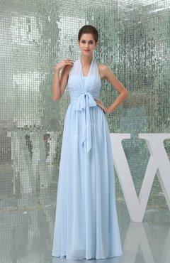 Ice Blue Plain A-line Halter Sleeveless Backless Chiffon Evening Dresses