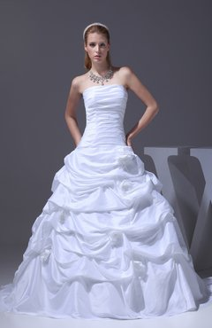 White Classic Garden Strapless Sleeveless Zipper Taffeta Court Train Bridal Gowns