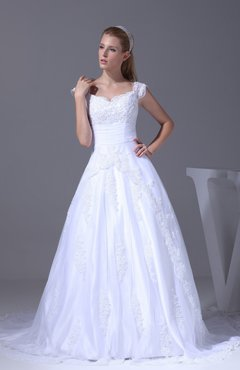 Romantic Church Princess V-neck Lace up Chapel Train Appliques Bridal Gowns