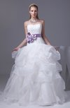 Gorgeous Church Princess Sleeveless Backless Organza Appliques Bridal Gowns