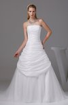 Gorgeous Church A-line Sleeveless Taffeta Ruching Bridal Gowns
