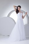 Simple Outdoor A-line Sleeveless Zip up Court Train Pleated Bridal Gowns